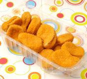 Fresh nuggets. Some fresh nuggets of chicken meat Stock Photo
