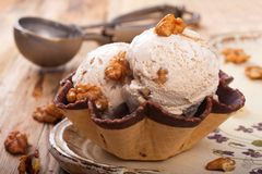 Fresh nut ice cream in waffle cup Stock Image