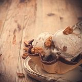 Fresh nut ice cream in waffle cup Stock Images