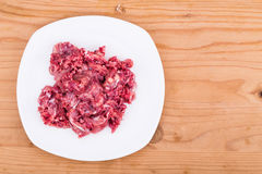 Fresh and nutritious minced raw meat dog food on plate. Fresh nutritious and delicious minced raw meat and bone dog food on plate Stock Photography