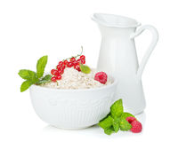 Fresh oat flakes with berries and milk jug. Isolated on white background Royalty Free Stock Photos