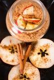Fresh oatmeal porridge with apples Stock Image
