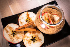 Fresh oatmeal porridge with apples Stock Photography