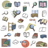 Fresh object series. A set of vector icons of books and reading devices in color, and black and white renderings. EPS file available stock illustration