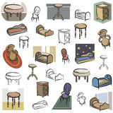 Fresh object series. A set of home furniture vector icons in color, and black and white renderings. EPS file available vector illustration