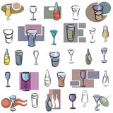 Fresh object series. A set of glass and bottle vector icons in color, and black and white renderings vector illustration