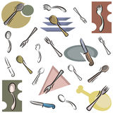 Fresh object series. A set of cutlery vector icons in color, and black and white renderings vector illustration