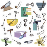 Fresh object series. A set of kitchen utensil vector icons in color, and black and white renderings. EPS file available stock illustration