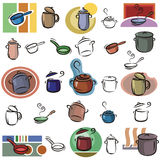 Fresh object series. A set of pot and frying pan vector icons in color, and black and white renderings. EPS file available royalty free illustration