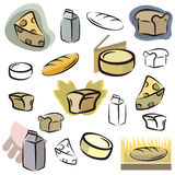 Fresh object series. A set of icons of dairy and bread vector icons in color, and black and white renderings. EPS file available stock illustration