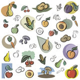 Fresh object series. A set of vector icons of fruits and vegetables in color, and black and white renderings. EPS file available stock illustration