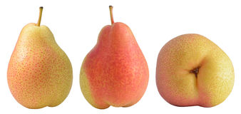 Fresh oceania pears. Closeup of fresh oceania pears with three side isolated on white Stock Photos