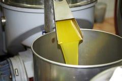 Fresh oil flowing in the bin Stock Photos