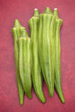 Fresh Okra. (Abelmoschus esculentus) on red background Royalty Free Stock Image