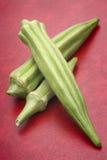Fresh Okra. (Abelmoschus esculentus) on red background Royalty Free Stock Photos