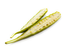 Fresh okra. Also known as lady's fingers, bhindi or gumbo isolated on a white background Royalty Free Stock Photography