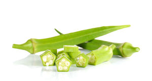 Fresh okra,Green roselle cut pieces on white background. Stock Photos