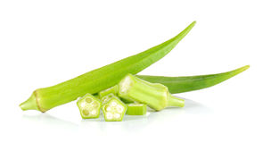 Fresh okra,Green roselle cut pieces on white background. Fresh okra,Green roselle cut pieces  on white background Stock Photos