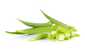 Fresh okra,Green roselle cut pieces on white background. Fresh okra,Green roselle cut pieces  on white background Royalty Free Stock Photo