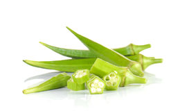 Fresh okra,Green roselle cut pieces on white background. Fresh okra,Green roselle cut pieces  on white background Royalty Free Stock Image
