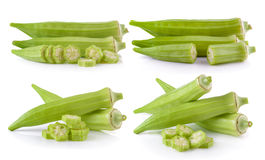 Fresh okra or green roselle on white background Stock Photos