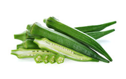 Fresh okra or green roselle. On white background Royalty Free Stock Images