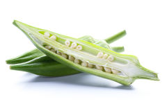 Fresh okra isolated on white. Fresh okra isolated on a white background Stock Photography