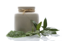 Fresh olive branch and bath salt. spa Stock Photo