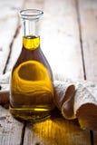 Fresh olive oil in bottle Royalty Free Stock Photo