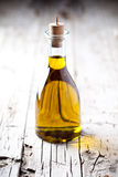 Fresh Olive Oil In Bottle Stock Photography