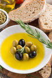 Fresh olive oil and Italian snacks, top view Stock Photography
