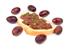 Fresh olive paste made from kalamata olives on bread Royalty Free Stock Image