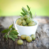 Fresh olives. Fresh green olives in a bowl Royalty Free Stock Images