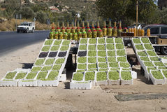 Fresh olives on display at a road side stand, Jordan Stock Images