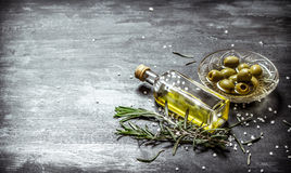 Fresh olives and the oil Stock Photo