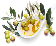 Fresh olives and Olive Oil stock photography