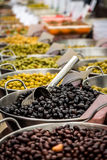 Fresh Olives. A selection of Olives from a food market in Mallorca, Spain Stock Images