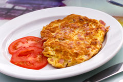Fresh Omelet with ham & Tomato Stock Photography