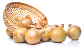 Fresh onion in basket. Close up of fresh onion in basket Stock Photo