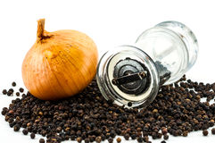 Fresh onion and bottom of glass pepper Grinder Stock Photography
