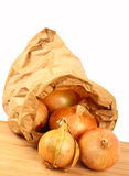Fresh onion in a brown paperbag Royalty Free Stock Photography
