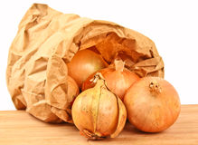 Fresh onion in a brown paperbag Royalty Free Stock Images