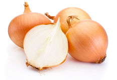 Fresh onion bulbs isolated on white background Stock Photos