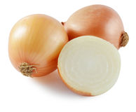 Fresh onion bulbs isolated on white background, clipping path in Stock Photos