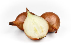 Fresh onion bulbs isolated on white background, clipping path in Royalty Free Stock Photos