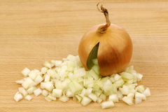Fresh onion with cut pieces coming out Royalty Free Stock Photo