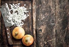 Fresh onion with old hatchet on a cutting board. On a wooden background Stock Image