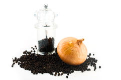 Fresh onion and  Pepper Grinder with peppercorn Stock Image