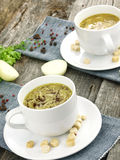Fresh onion soup in a soup cup Stock Image