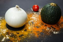 Fresh onion, zucchini, spice tomato, on a black background, top view stock images
